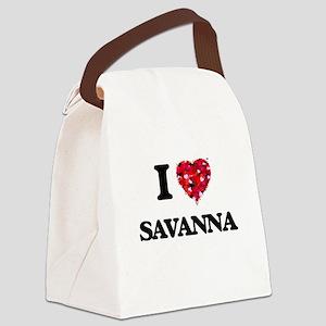 I Love Savanna Canvas Lunch Bag