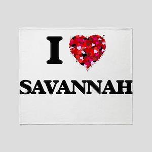 I Love Savannah Throw Blanket
