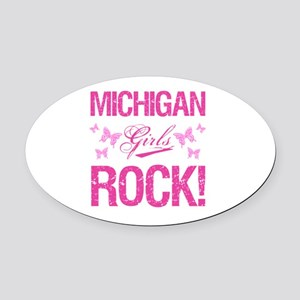Michigan Girls Rock Oval Car Magnet