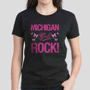 Michigan Girls Rock Women's Dark T-Shirt