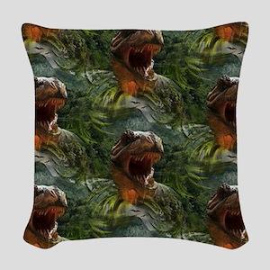 jurassic dinosaur Woven Throw Pillow