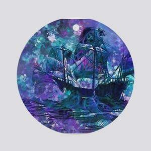 Abstract Pirate Ship Painting Ornament (Round)