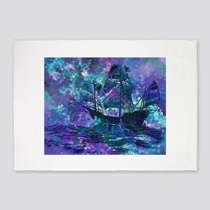 Abstract Pirate Ship Painting 5'x7'Area Rug