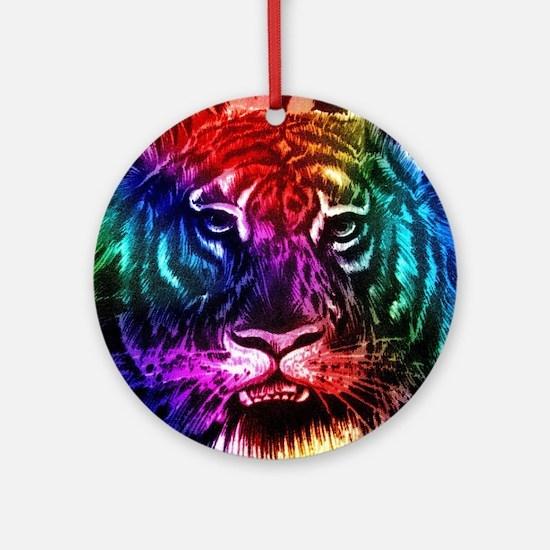 Artsy Rainbow Tiger Ornament (Round)