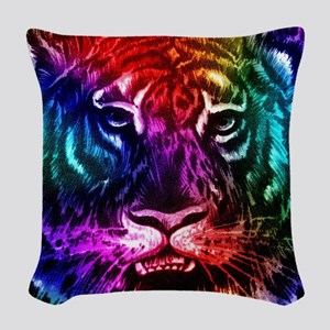 Artsy Rainbow Tiger Woven Throw Pillow