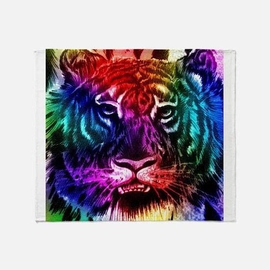 Artsy Rainbow Tiger Throw Blanket