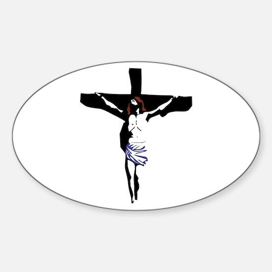 Crucifix Oval Decal