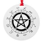 Pentagram Yule Tide Tree Round Ornament