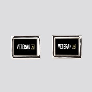 U.S. Army: Veteran (Black) Rectangular Cufflinks