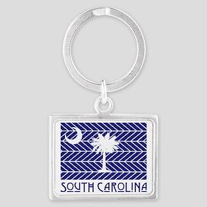 South Carolina Chevron Flag Landscape Keychain