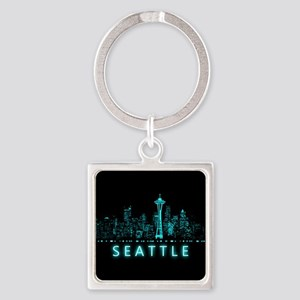 Digital Cityscape: Seattle, Washin Square Keychain