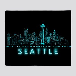 Digital Cityscape: Seattle, Washingt Throw Blanket