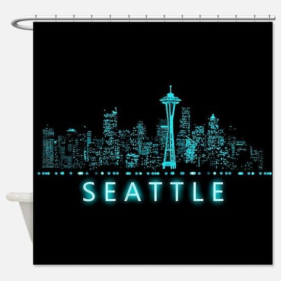 Digital Cityscape: Seattle, Washing Shower Curtain