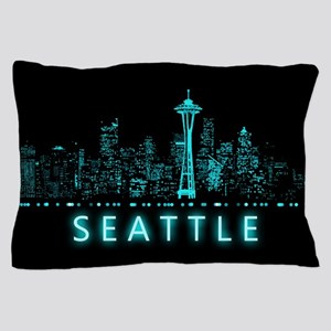 Digital Cityscape: Seattle, Washington Pillow Case