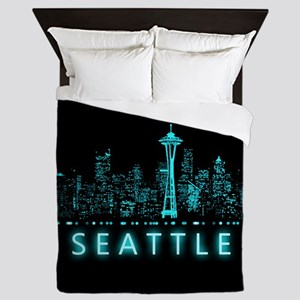 Digital Cityscape: Seattle, Washington Queen Duvet