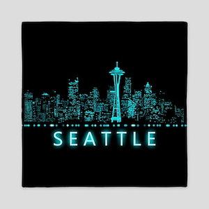 Digital Cityscape: Seattle, Washington Queen Duvet