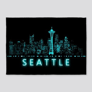 Digital Cityscape: Seattle, Washing 5'x7'Area Rug