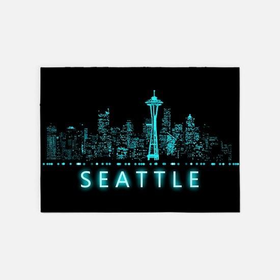 Digital Cityscape: Seattle, Washing 5'x7'Area Rug
