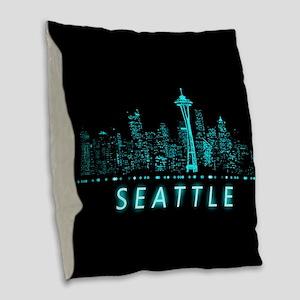 Digital Cityscape: Seattle, Wa Burlap Throw Pillow