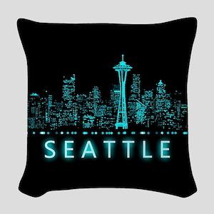 Digital Cityscape: Seattle, Wa Woven Throw Pillow