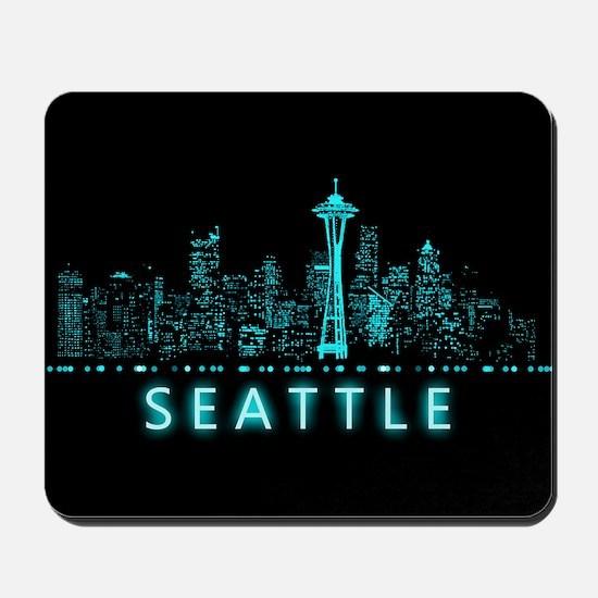 Digital Cityscape: Seattle, Washington Mousepad