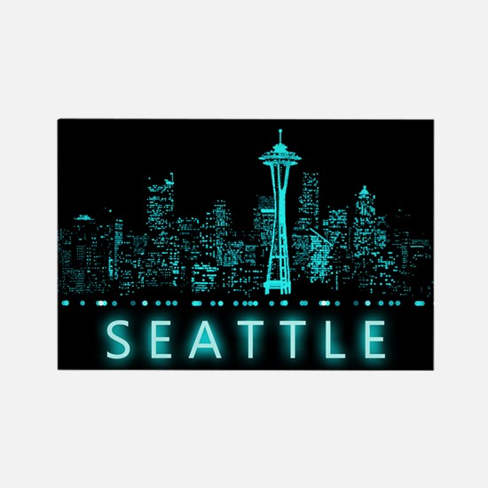 Digital Cityscape: Seattle, Washi Rectangle Magnet