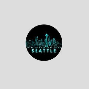 Digital Cityscape: Seattle, Washington Mini Button