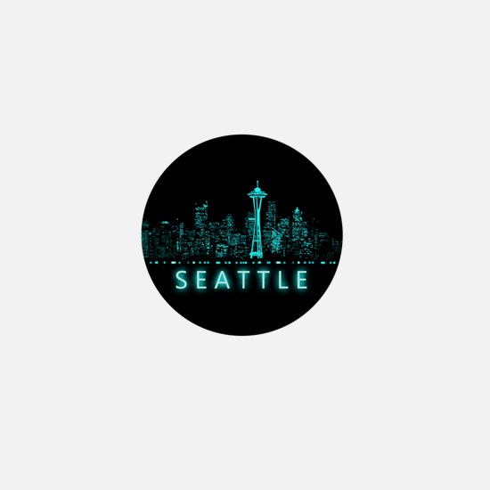 Digital Cityscape: Seattle, Washington Mini Button