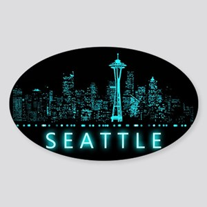 Digital Cityscape: Seattle, Washing Sticker (Oval)