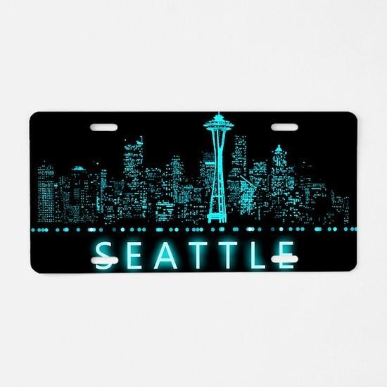 Digital Cityscape: Seattle, Aluminum License Plate
