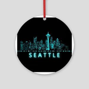 Digital Cityscape: Seattle, Washing Round Ornament