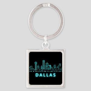 Digital Cityscape: Dallas, Texas Square Keychain