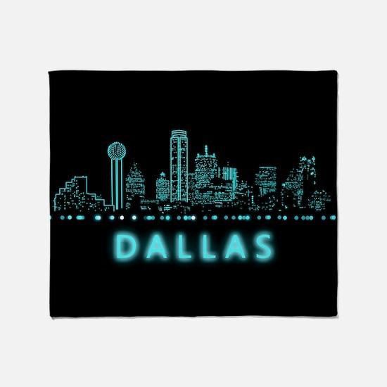 Digital Cityscape: Dallas, Texas Throw Blanket
