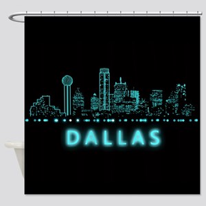 Digital Cityscape: Dallas, Texas Shower Curtain