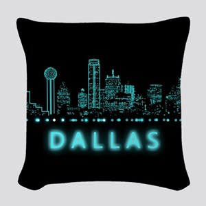 Digital Cityscape: Dallas, Tex Woven Throw Pillow
