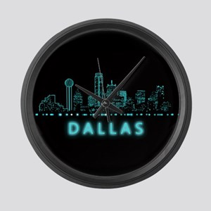 Digital Cityscape: Dallas, Texas Large Wall Clock