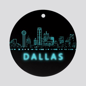 Digital Cityscape: Dallas, Texas Round Ornament