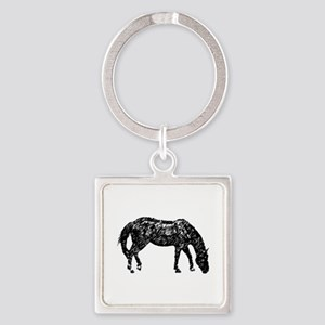 Black Artistic Horse Sketch Square Keychains