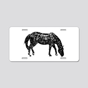 Black Artistic Horse Sketch Aluminum License Plate
