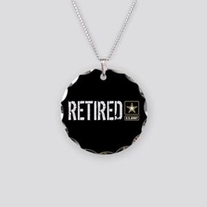 U.S. Army: Retired (Black) Necklace Circle Charm