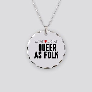 Live Love Queer as Folk Necklace Circle Charm