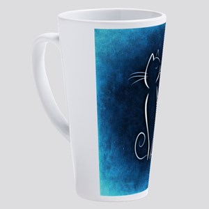 Blue Abstract Cat 17 oz Latte Mug