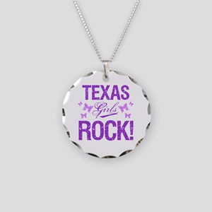 Texas Girls Rock Necklace Circle Charm