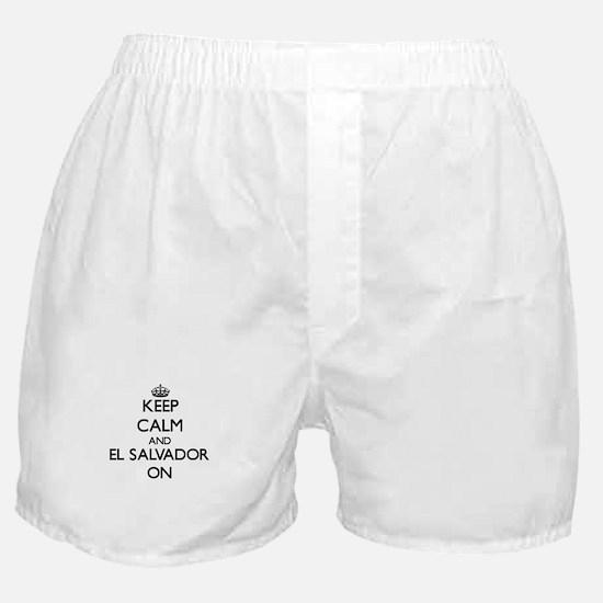 Keep calm and El Salvador ON Boxer Shorts
