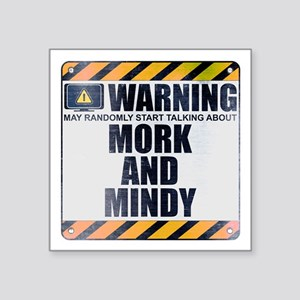 """Warning: Mork and Mindy Square Sticker 3"""" x 3"""""""
