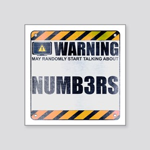 """Warning: Numb3rs Square Sticker 3"""" x 3"""""""