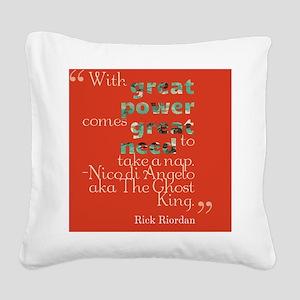 Nico Di'Angelo Quote Square Canvas Pillow