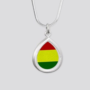 Rasta Silver Teardrop Necklace Necklaces