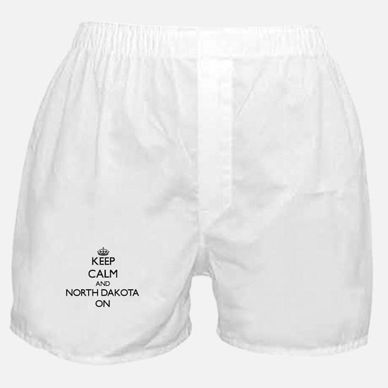 Keep calm and North Dakota ON Boxer Shorts