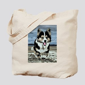 Beach Running Corgi Tote Bag